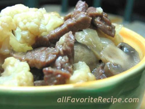 Beef with Cauliflower and Mushroom